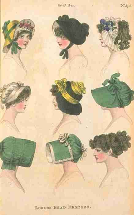 "Various hats and bonnets, ""Fashions of London and Paris,"" English, 1802."