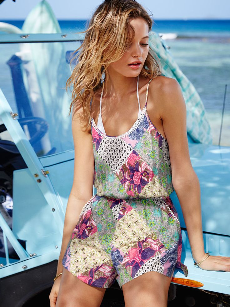 Don't forget the OTHER one-piece. This cover-up is top-to-bottom boho with that patchwork print. | Victoria's Secret The Beach Romper