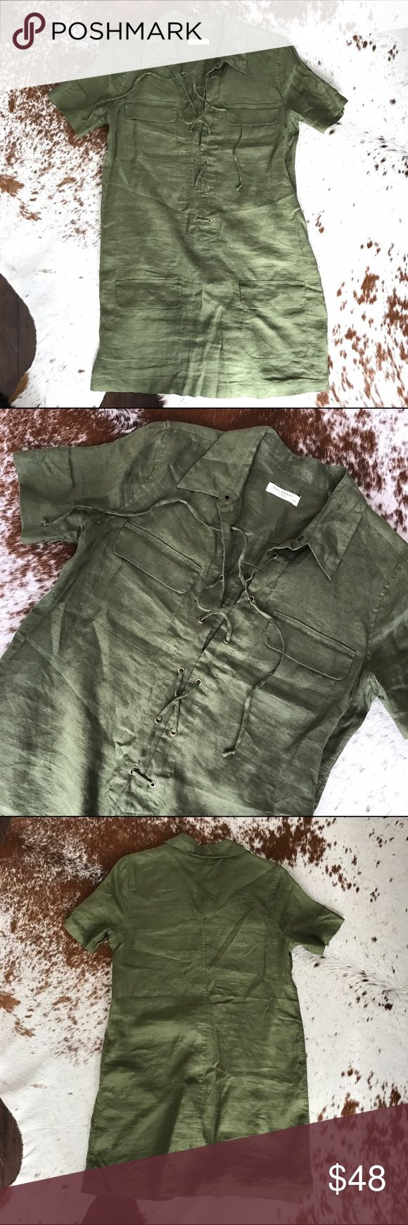 "Equipment Knox lace up linen dress Adorable lace up dress by Equipment. Olive green color with front pockets. Worn twice. Point collar. Front lace-up placket. Short sleeves. Four front flap pockets. Pullover style. About 19"" from natural waist. Linen. Equipment Dresses Mini"