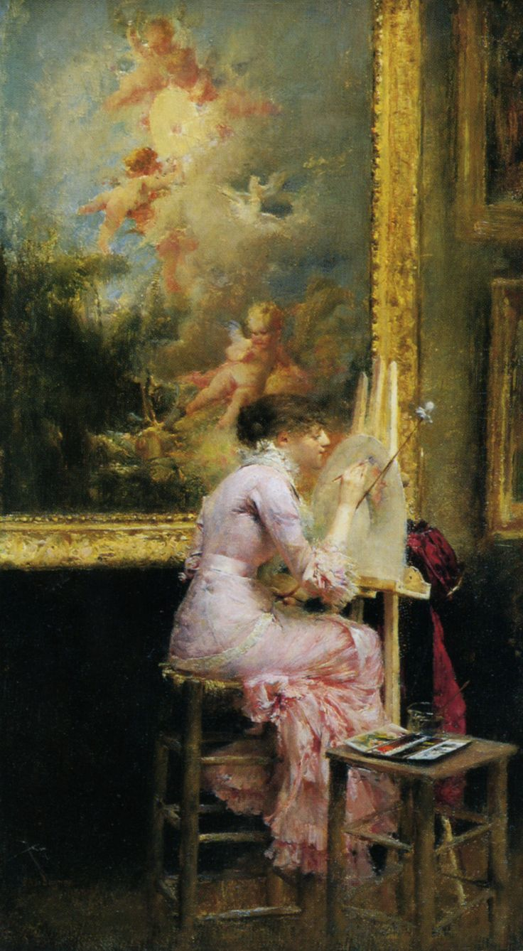 Young Watercolourist In The Louvre (1881). Pascal-Adolphe-Jean Dagnan-Bouveret (1852-1929).