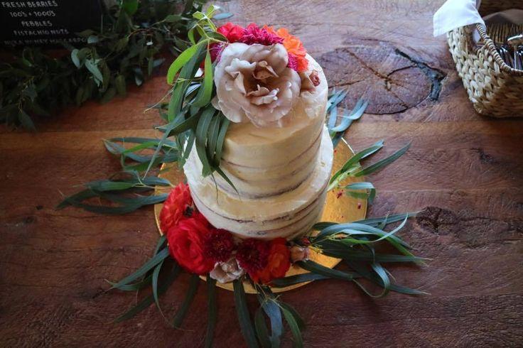 Large semi-naked Wanaka wedding cake