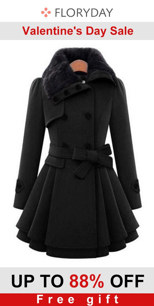 Long sleeve buttons pockets trench coat, trendy, valentine