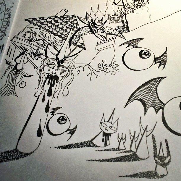 #drawing #workinprogress #zine #zines #comic #comics #illustration #art #instaart #artist_sharing #artistsontumblr #cat #cats #horror #horrorart #eyeball #surrealism #emanuelletomato #wip #artwip #fineliner #blackrabbitofinle #flyingfish