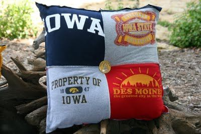T-shirt pillows, this is great if you don't want a blanket