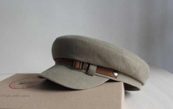 Military cap, Fiddler Cap, Fishermans Hat, Mens Cap, Driving Cap, Newsboy hat with leather strap