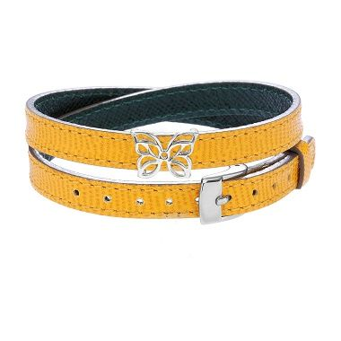 To accessorize your leather bracelet, choose the openwork Butterfly by Lilou! Available in silver and gold-plated, nice combo for your look! #lilou #bracelet #leather #butterfly #look