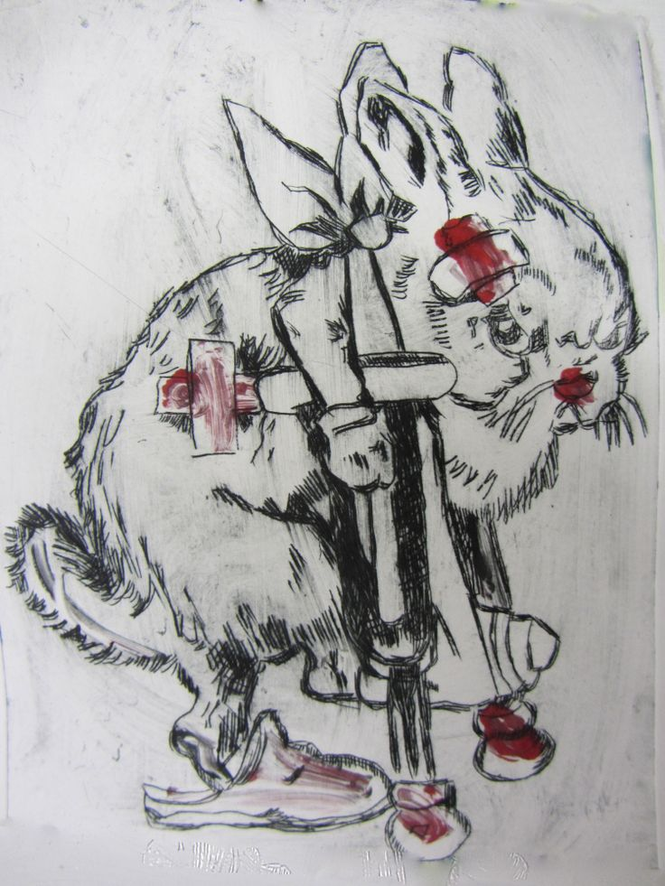 'Pissed off Bunny'-Drypoint Etching