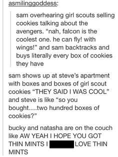 Natasha and Bucky love their Thin Mints.