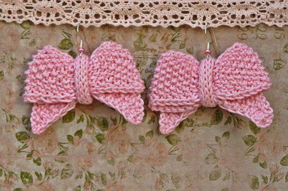 Bow earrings Pink knit cotton earrings Unique by echocraftings