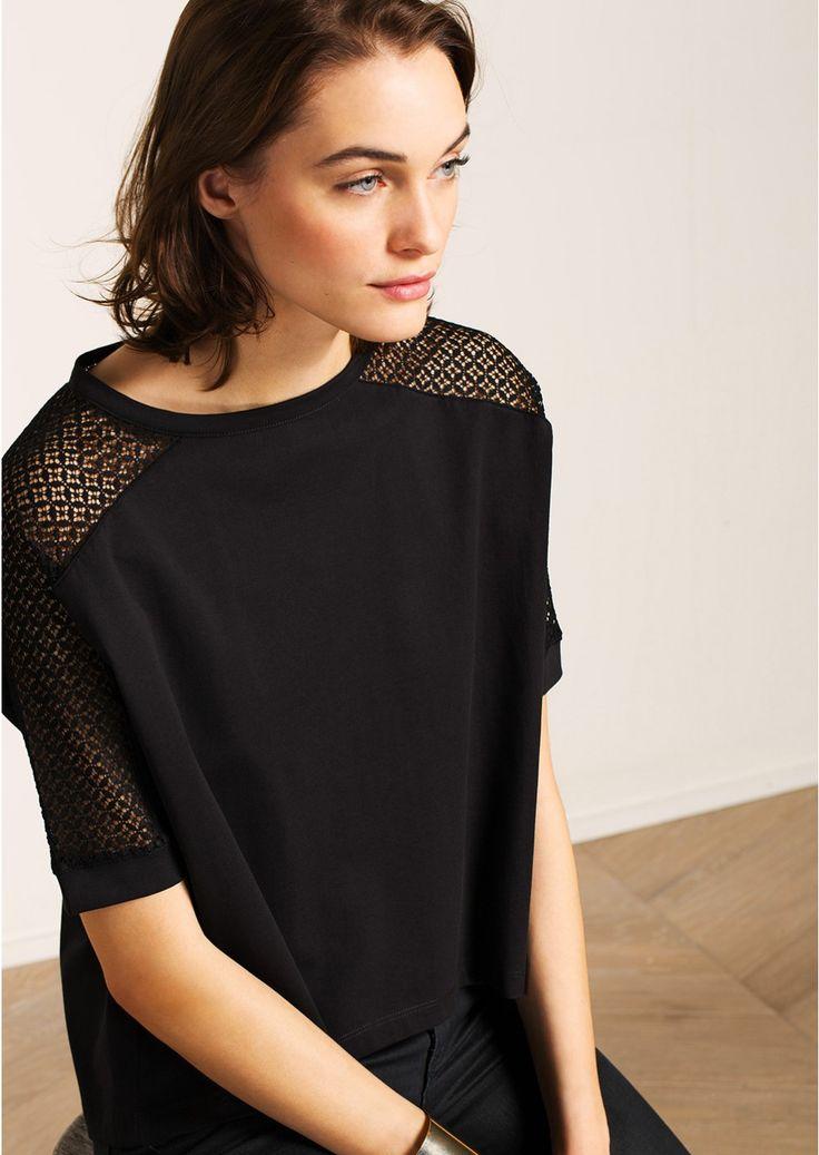 T-shirt avec manches en dentelle noir - femme - tara jarmon 3