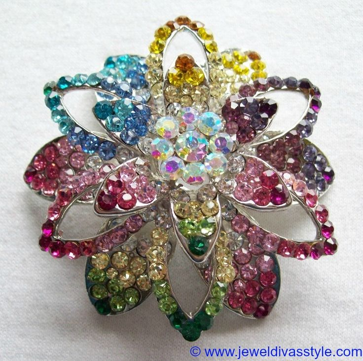 JDS - SILVER MULTI COLOURED CRYSTAL FLOWER BROOCH - http://jeweldivasstyle.com/my-personal-collection-silver-multi-jewellery-9/
