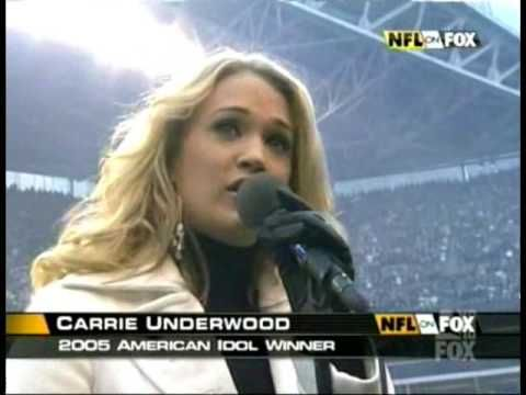 National Anthem sung by Carrie Underwood. The Star Bangled Banner was written by Francis Scott Key after seeing the flag still waving at Ft. McHenry during a battle in 1814.