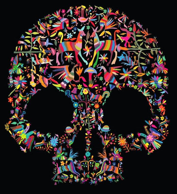 Day of the Dead poster design by Damian Castillo, inspired by the Otomi embroidery tradition.