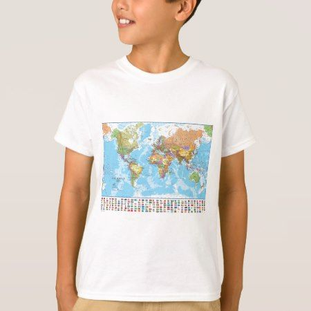 Political World Map with Flags T-Shirt - click/tap to personalize and buy