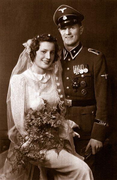 Rochus Misch and his wife Gerda on their wedding day, December.31, 1942. Misch, the last survivor of the Fuhrerbunker, passed away on September.5, 2013 at the age of 96