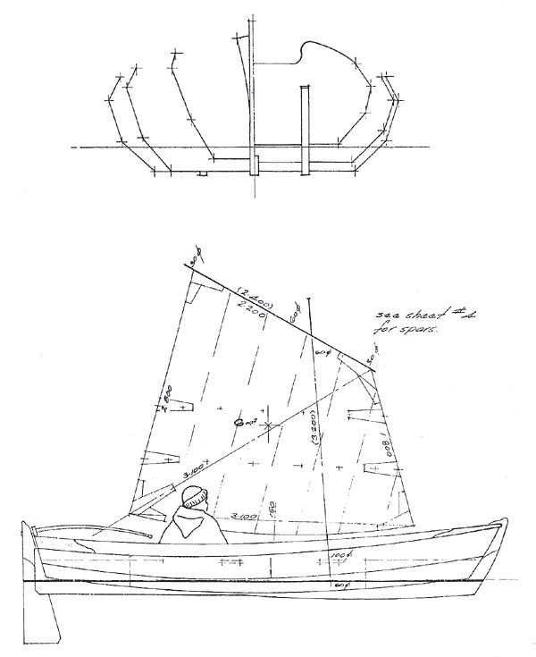 Plywood-built Yorkshire Coble-inspired sail and oar boat