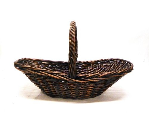 Oblong Dark Stained Willow Basket w/ Handle $16.95