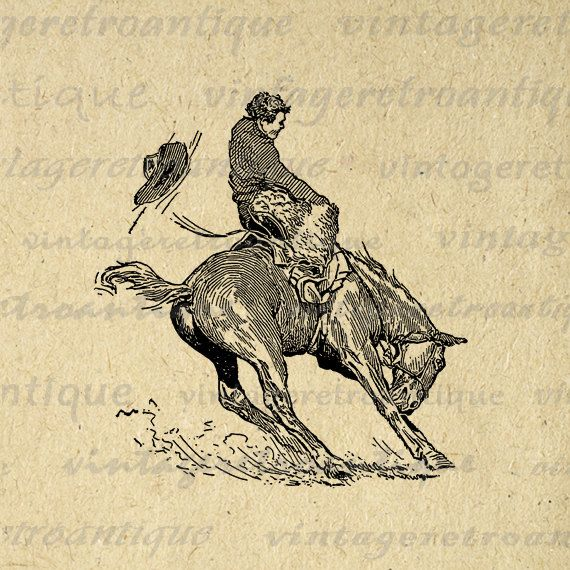 Printable Image Bucking Bronco Horse Cowboy Download Horseback Rider Digital Graphic Artwork Vintage Clip Art. Vintage printable image download for printing, transfers, tote bags, t-shirts, papercrafts, tea towels, and more great uses. This digital image is high quality at 8½ x 11 inches large. Transparent background version included with every graphic.