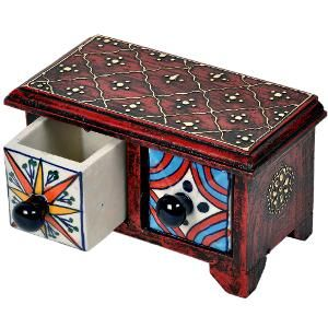 Buy Wooden Ceramic Double Drawer Handicraft Set by Little India