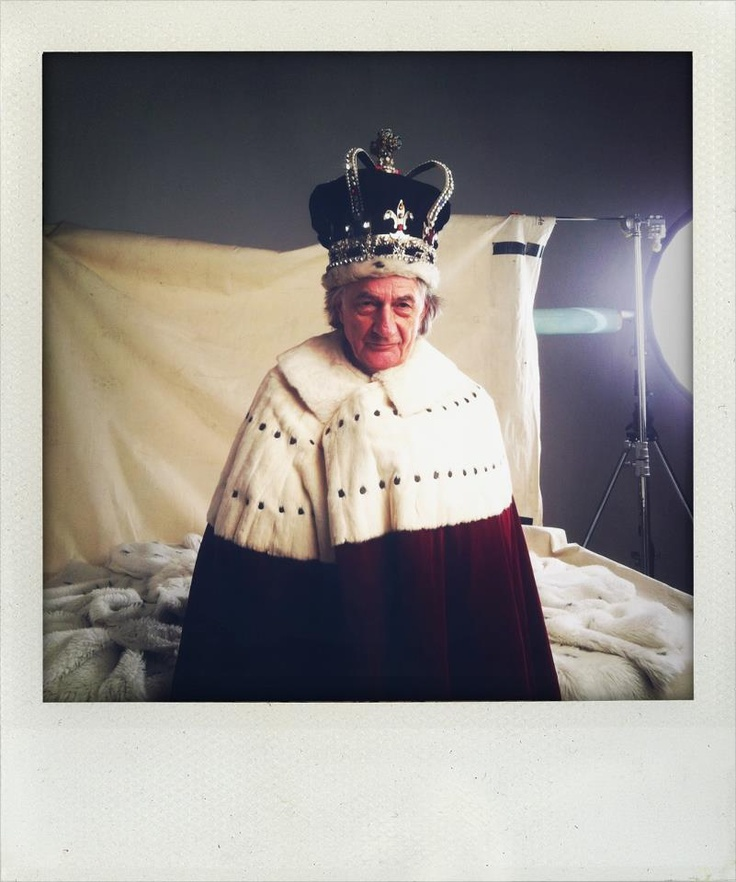 Paul Smith dressed as the Queen on set at the June Tatler cover shoot
