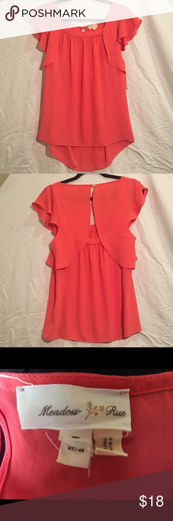 "Anthropologie Coral Blouse This Meadow Rue flowy flutter sleeve coral blouse is a size 10. It has been gently worn and is in good condition. Bust is 38"" and it is 26"" long. Anthropologie Tops Blouses"