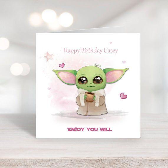 Star Wars Mandalorian Baby Yoda Birthday Card Featuring Yoda Etsy Cards Birthday Cards Star Wars Yoda