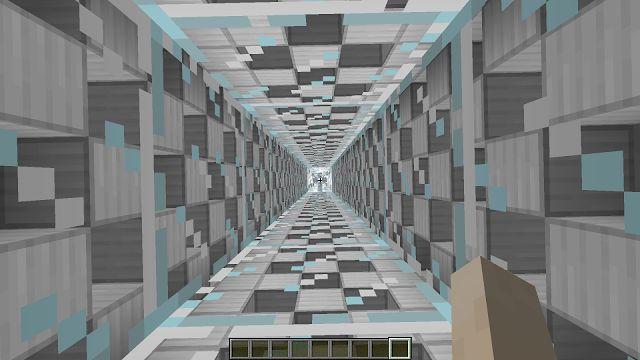 Geometrische afbeelding uit het videospel Minecraft van een liftschacht