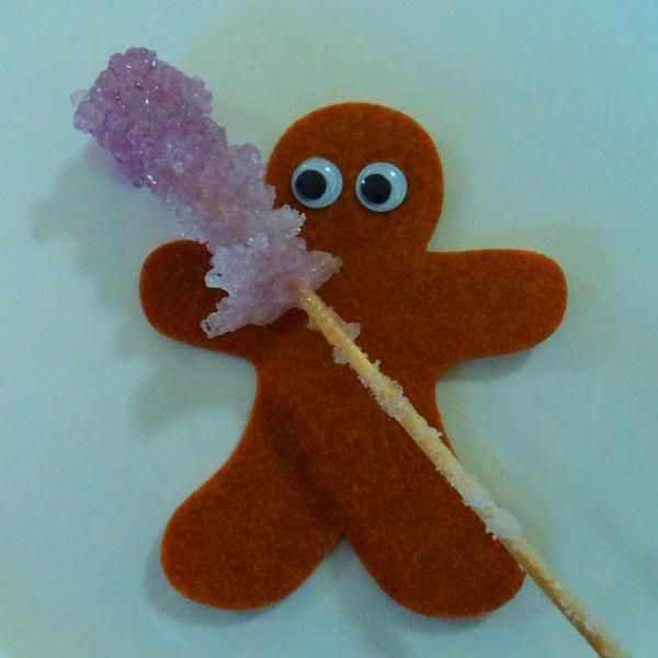 Felt gingerbread shape from Dough.Tools with a homemade sugar stick.