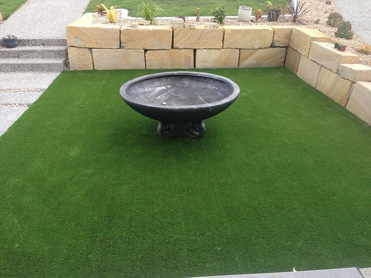 Fake grass is low maintenance and looks great.