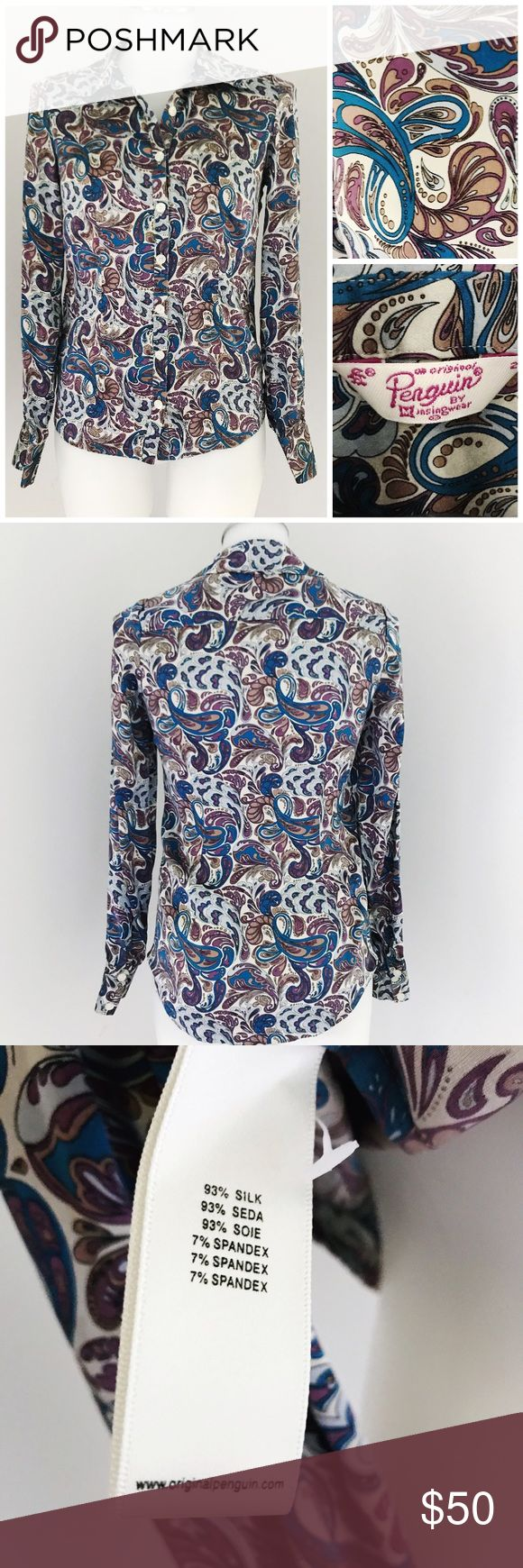 Original Penguin Purple Blue Paisley Buttoned Top Beautiful Silk long sleeve, button down Paisley print shirt. Excellent preowned condition. Great for the working professional or pair with blue jeans for a more casual look. Original Penguin Tops Button Down Shirts