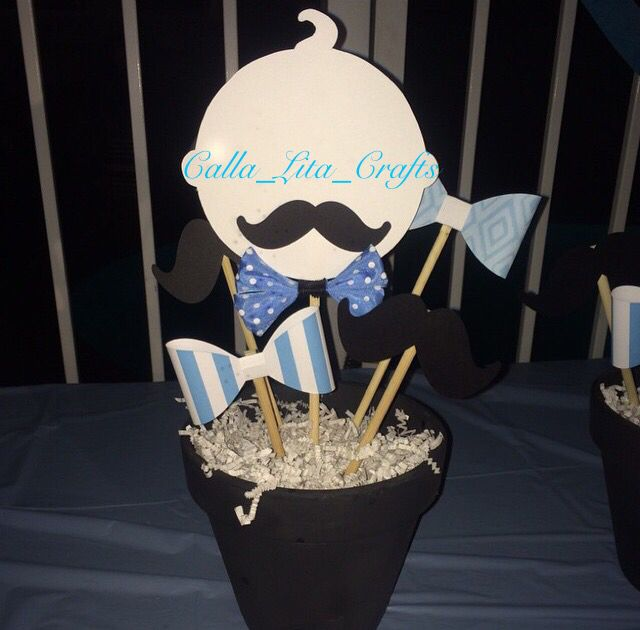 *CLIENT'S PICTURE AND DISPLAY*   Blue Little Man Theme set for centerpieces. babies with mustache   https://www.etsy.com/listing/159452770/6-little-man-theme-centerpiece-set-hand?utm_source=Pinterest&utm_medium=PageTools&utm_campaign=Share