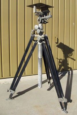 """$235 Vintage Television Movie Camera Tripod J. G. Saltzman Caesar TV Hollywood Television Tripod J. G. Salzman, Inc. Caesar Manufacturing, Inc. Serial No. 110 All metal construction, maybe 50+ years old? 48 inches tall when collapsed . Fully opened with extension legs not extended, top of head unit sits at about 34"""". Fully opened with extension legs extended, top of head units sits atabout 57""""."""