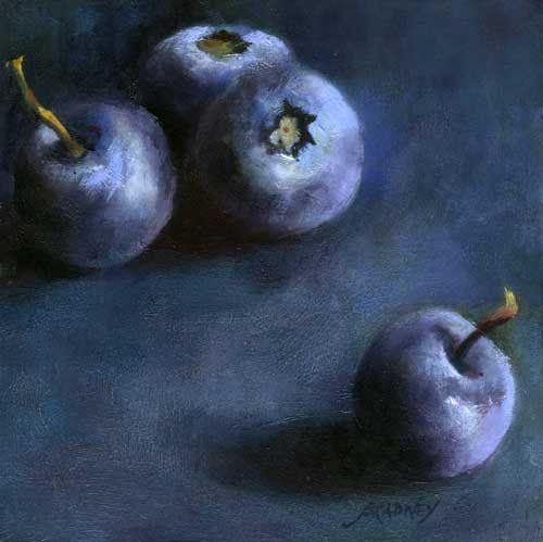 Blueberry Quartet : oil painting still life