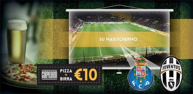 Porto - Juventus su MAXISCHERMO da Ristorante Pizzeria Pub Carpe Diem a Viareggio