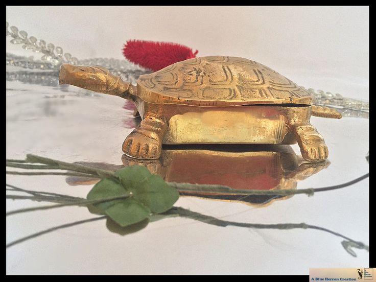 Vintage Brass Turtle Tortoise, Solid Brass Figurine, Hinged Trinket Dish with lid, Desk Accessory, Mid-Century Modern Decor, Gifts Under 25