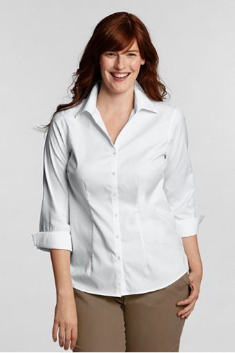 no iron shirt from lands end in white what to wear