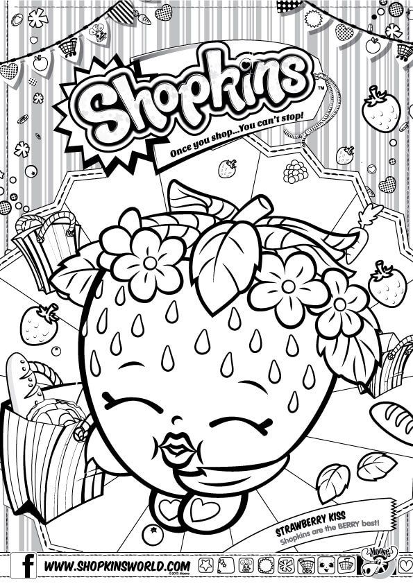 Find More Coloring Pages Online For Kids And Adults Of Shopkins Strawberry Kiss To Print