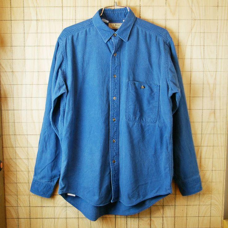 【LLBean】USA製古着ブルー(青)コットン100%シャツ|サイズM|sy-l-144