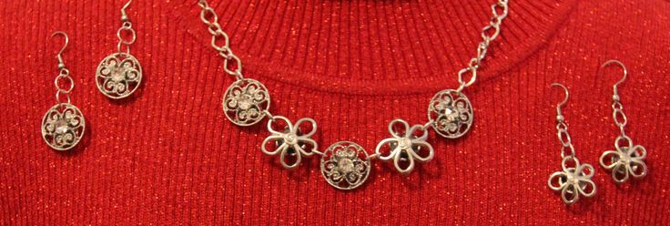 Unique Handcrafted and Beautiful Button Necklace with 2 Pair Matching Earrings