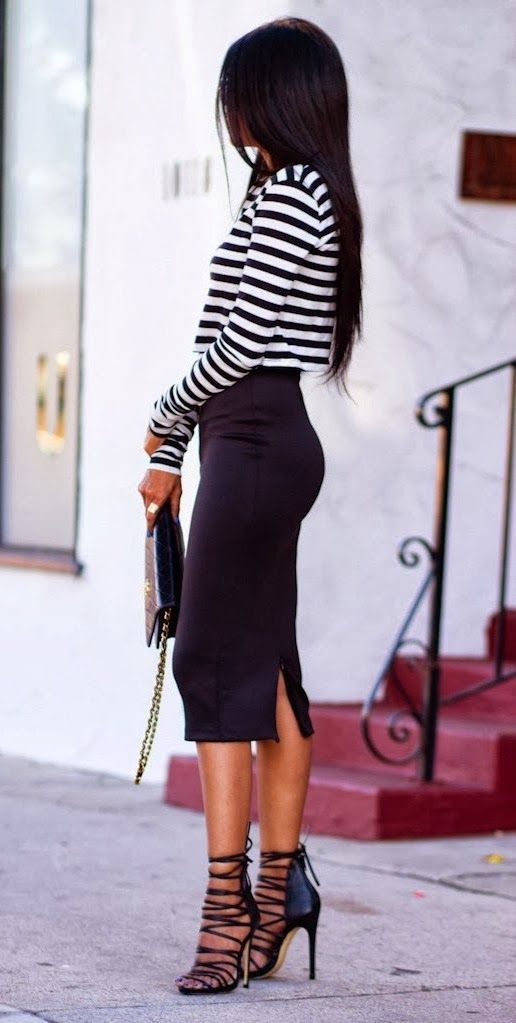 I have a black and white striped crop top, a black high wasted pencil skirt, and strappy heels that could look like this :)