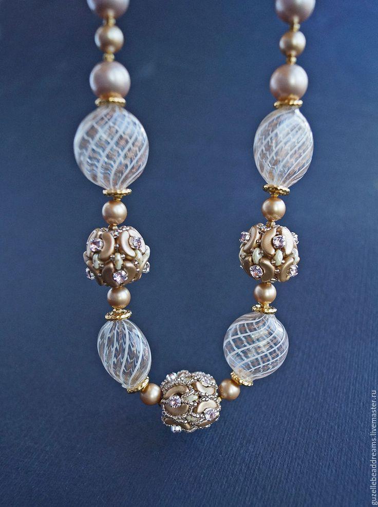 Купить бусы Венеция - золотой, венецинские бусины, выдувные бусины, венецианское стекло, изысканные бусы