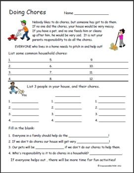 Printables Life Skills Worksheets For Adults 1000 images about life skills on pinterest cooking student and worksheet the importance of doing chores students will list a variety also they do along