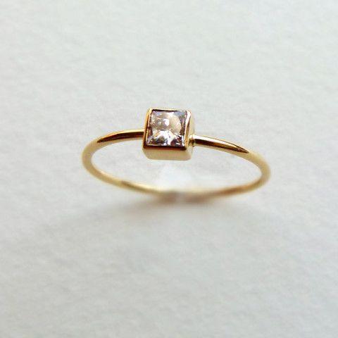 Princess Diamond Ring - Simple Engagement Ring - Square Diamond Ring - 18k Solid…