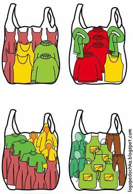 Zoek de juiste kaartjes bij de kleding tas 1