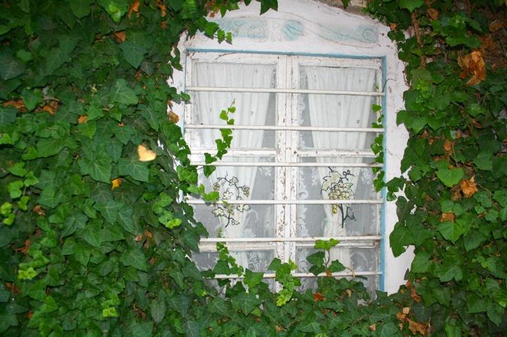 Window in old Nikiti, Sithonia, Greece