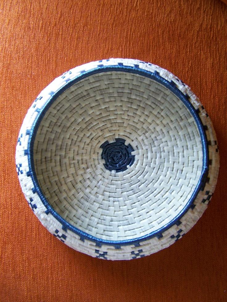 Handmade rattan and rafia basket.  Splendid.
