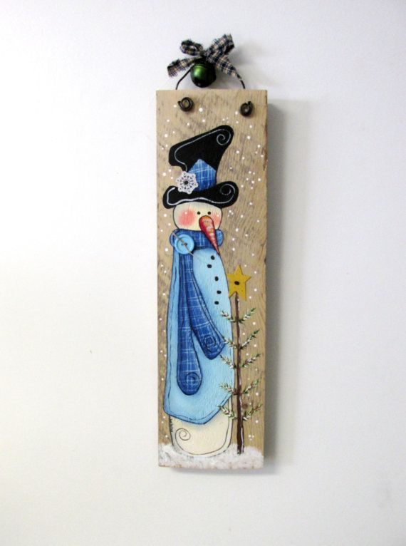Winter Scene Snowman with Christmas Tree Hand by barbsheartstrokes