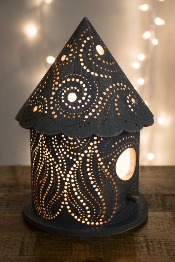 Starry Night Birdhouse Night Light - Woodland Nursery Lamp - Kid's Lighting by LightingBySara on Etsy