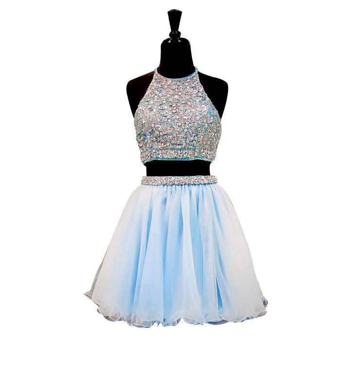 LISA.MOON Women's Halter Backless Two Pieces Beaded Tulle Short Homecoming Dress Blue US8. 1.Tulle,Applique;Beading,Crystal. 2.Halter;Sleeveless;Zipper Back,Backless;Two Pieces;Short,Mini,Knee Length. 3.Made to Order!You can give us your size!(BUST,WAIST,HIP,HOLLOW TO FLOOR)When getting your order,we will contact you to make sure you have chosen the right measurements.If no reply,we will do it as our size.Thank you!. 4.The real color of the item may be different from the pictures shown on...