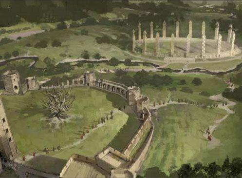 Concept artwork for Hogwarts - including Alnwick Castle's Inner Bailey on the left